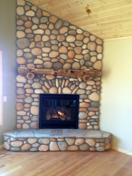Home lakeside fireplaces walker for Field stone fireplace